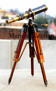 Antique-Vintage-Brass-Telescope-With-Wooden-Tripod-Pirate-Spyglass-Nautical-Gift