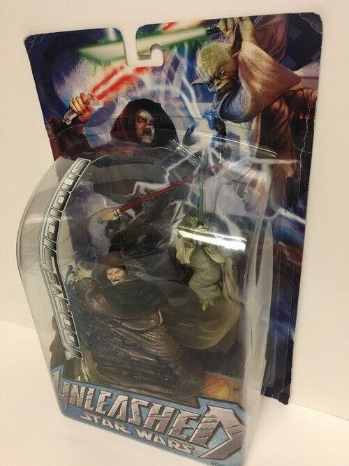 Star Wars Unleashed 10  Action Figure Yoda VS Darth Sidious Hasbro 2005 NIP