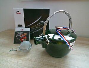 STAUB-Gusseisen-Teekanne-Teekessel-Wasserkessel-Teapot-1-15-l-Basilikum-Gruen-NEU