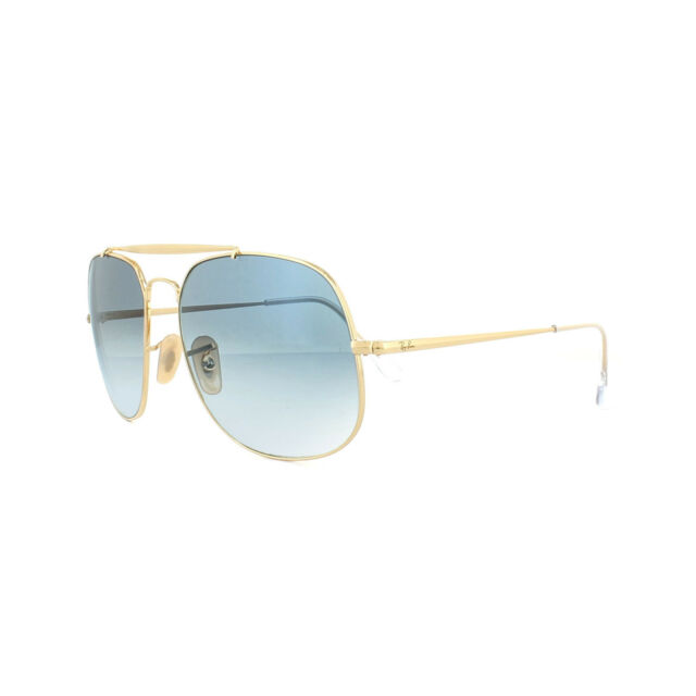 cb55a4ab55 Ray-Ban General RB 3561 001 3f Gold Aviator Sunglasses Blue Gradient ...