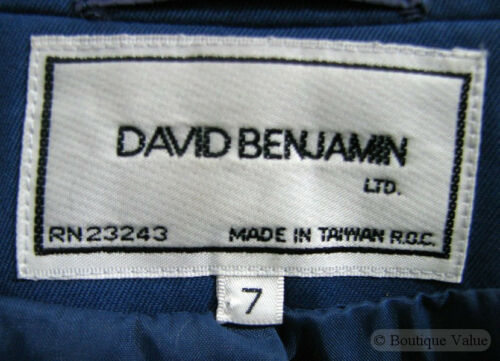 Benjamin Blue 2 David Royal Gonna Blazer Jacket 7 Sz Suit Pc HqqawOx