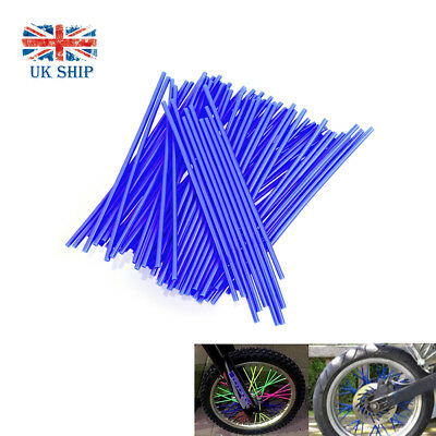 72pcs Motorcycle Dirt Bike Wheel Spoke Wraps Skins Coat Trim Cover Pipe White UK