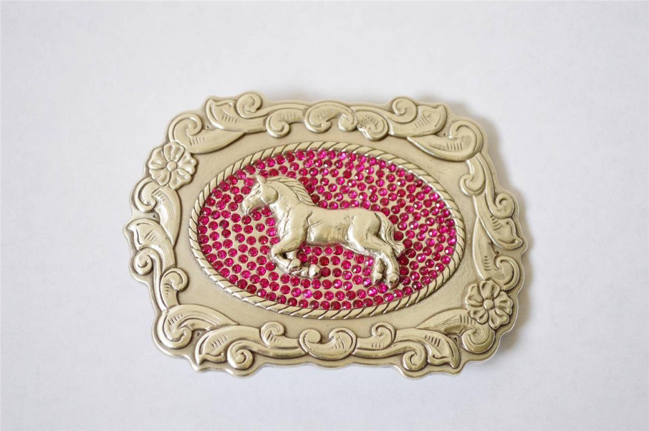 Enmon Engraved Pink Rhinestone Cross Western Belt Buckle Cowgirl Silver Horse