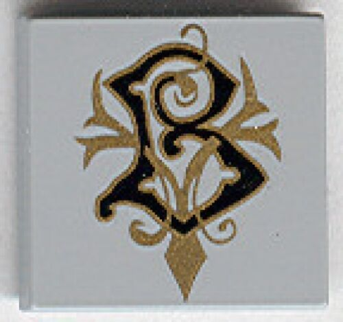 LEGO HARRY POTTER Light Gray Tile 2 x 2 w// Coat of Arms Beauxbatons Pattern
