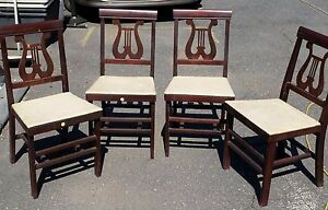 MID-CENTURY-VINTAGE-STAKMORE-WOOD-FOLDING-CHAIRS