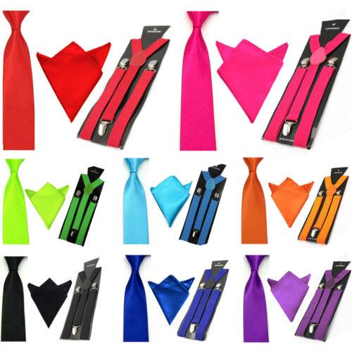 Men's Pocket Square Necktie Elastic Suspenders Braces Handkerchief Ties Set