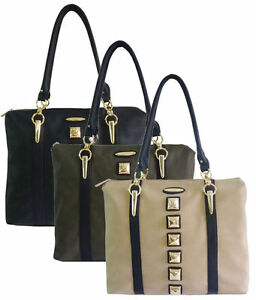 Leather Bag Studs Satchel olive Style Lydc Designer Beige Ladies Tote Handbag Women TxwpHTq