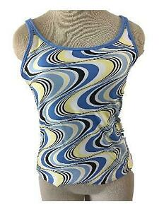 Adidas-bathing-suit-size-M-medium-tankini-TOP-ONLY-blue-swirl-built-in-bra-lined