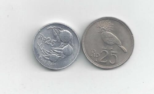 1971 /& 1994 2 DIFFERENT 25 RUPIAH COINS from INDONESIA 2 TYPES