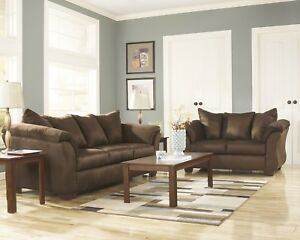 Details About Luna Cafe Chocolate Sofa Loveseat Casual Microfiber Living Room Set By Ashley