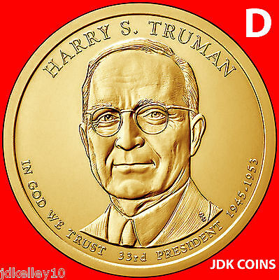BU UNC 2015 United States US Presidents Harry S Truman dollar $1 coins Denver