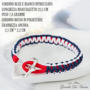 cordino-Argento-ANCORA-Blu-Braccialetto-marinaio-Uomo-bracciale-NAUTICA-NAVY-ml