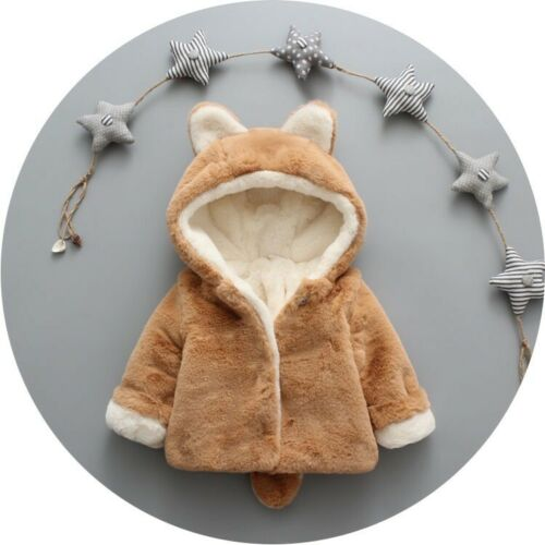 Toddler Baby Girl Winter Warm Coat Faux Fur Hooded Outerwear Jacket Clothes