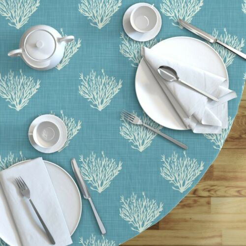 Round Tablecloth Nautical Texture Coral Ocean Blue Teal Turquoise Cotton Sateen