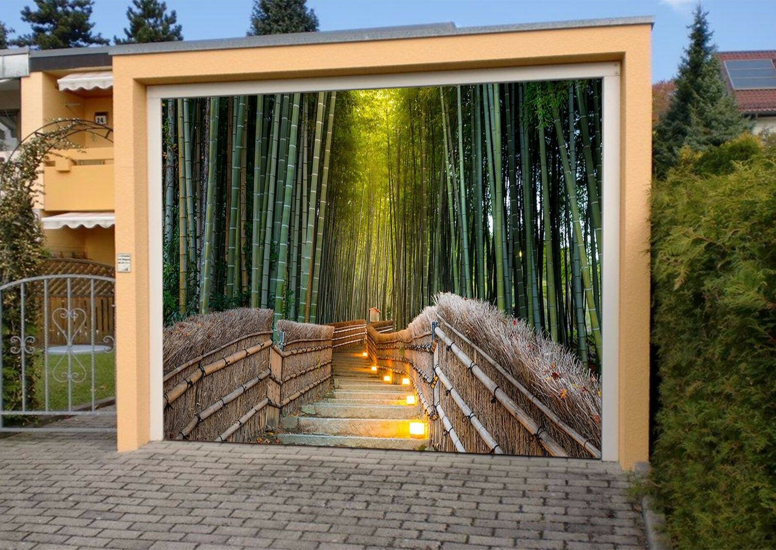 3D Bamboos Hut 53 Garage Door Murals Wall Print Decal Wall AJ WALLPAPER AU Lemon
