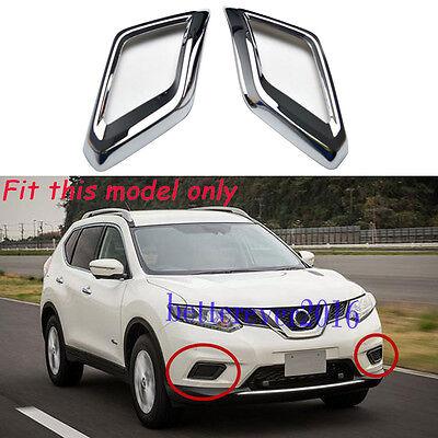 2pcs Front Fog Lamp Light Cover Trims Chrome fit 2014-2016 Nissan X-Trail Rogue