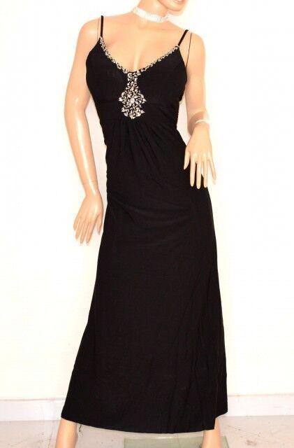 VESTIDO largo schwarz damen de tirantes sin mangas cristales strass elegante E135