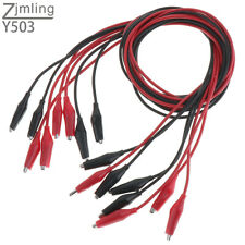 8x Double Clip With Silicone Boot Crocodile Cable Alligator Jumper Wire Test Leads