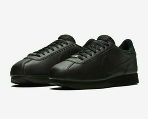 Nike-Classic-Cortez-UK-Size-9-Mens-Trainers-Black-Leather-Shoes