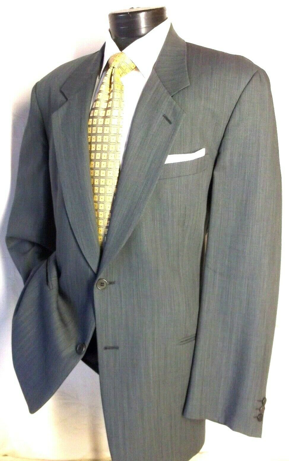 MANI by GIORGIO ARMANI Green Textured 2 Button suit 44L Pants 39W 30L
