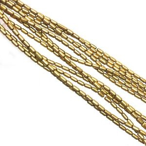 Solid-Brass-Tube-Beads-Strand-30-034-Beading-Jewelry-Making-Craft-Supply-BSB05