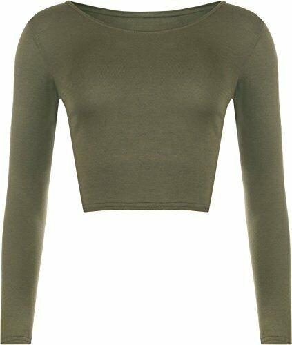 Womens Round Neck Long Sleeve Jersey Lightweight Crop Top T-Shirt UK Size 8-14