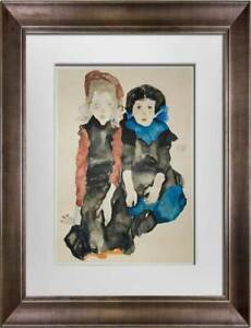 """Egon SCHIELE Lithograph """"Two Little Girls""""  SIGNED #'ed Limited Ed: w/Frame"""