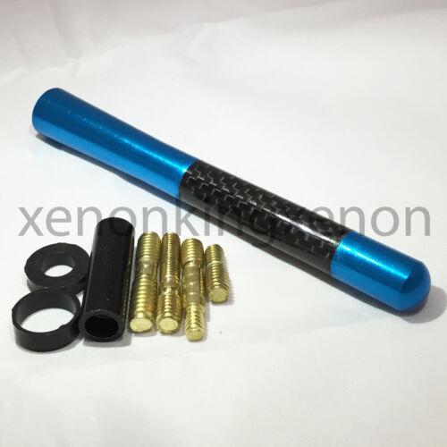 "JDM Style Short BLUE 5/"" in//127 mm Carbon Fiber Screw Type Antenna #u17 Vehicle"