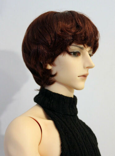 """1//3 bjd 9-10/"""" doll head red brown synthetic mohair wig Soom Pullip Taeyan 28053"""