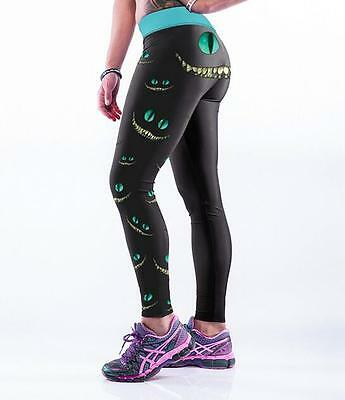 Pink Cheshire Cat printed Fitness Women Sports Leggings wide belt waist S-4XL