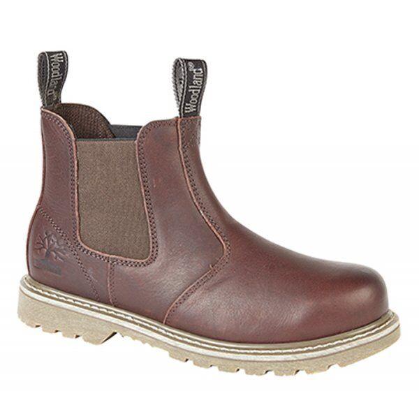 Woodland Para Hombre De Cuero Doble Fuelle Casual cómodo manera Chelsea botas marrón