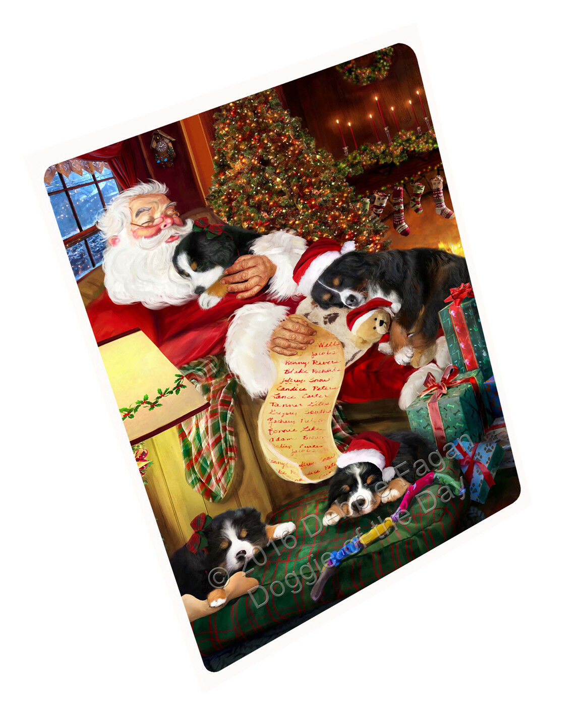 Bernese Mountain Dog Sleeping with Santa Woven Throw Sherpa Fleece Blanket NWT
