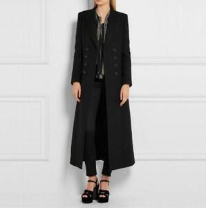 Double Fit Coats Long Classic Maxi Slim Black Overcoat Nw Uld Kvinders breasted Y6tvw8Yq
