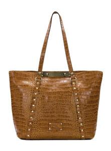 Patricia-Nash-Benvenuto-Tote-Vintage-Croc-Cognac-Brown-Leather-New-249