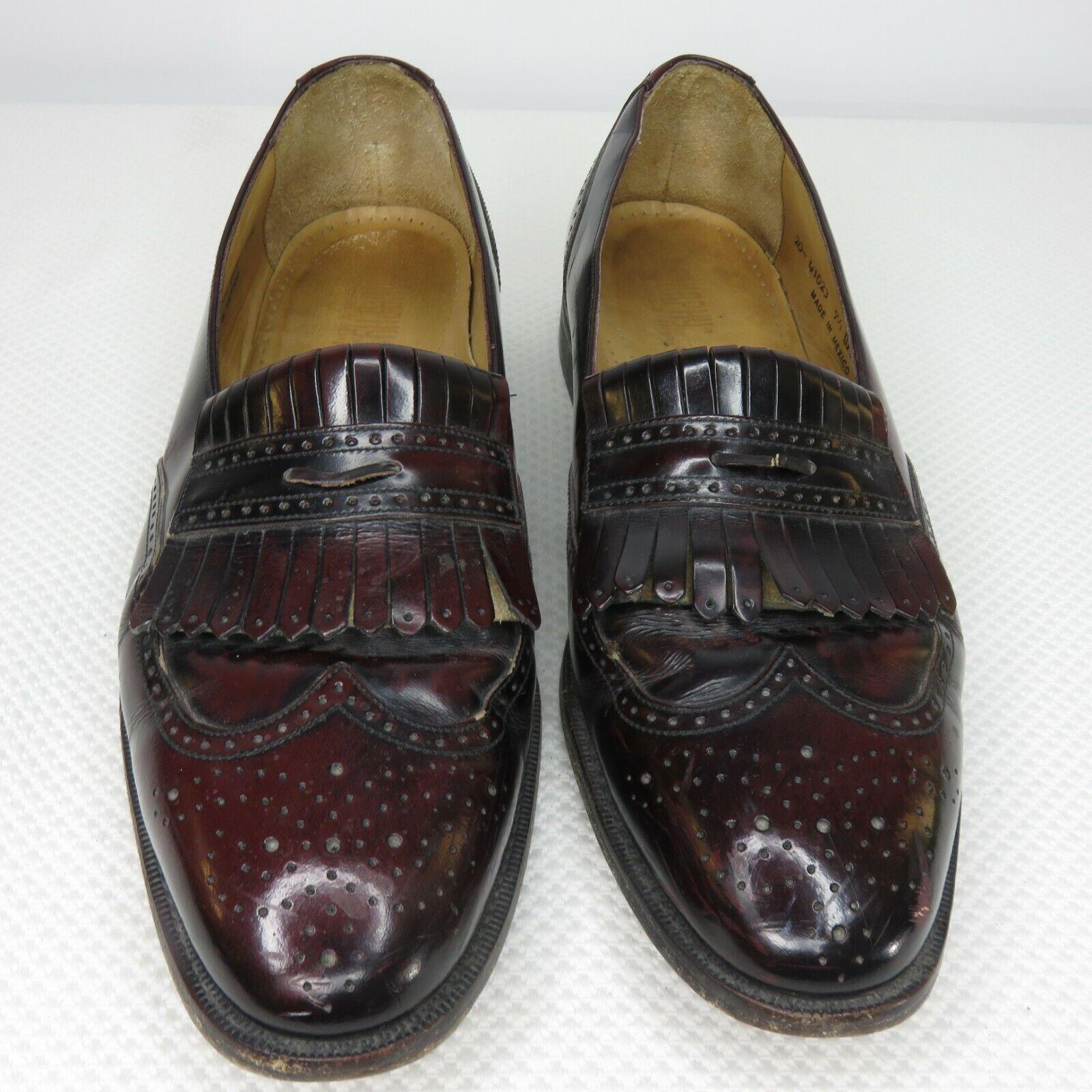 Johnston & Murphy Kiltie Loafers Wingtip Shoes Size 9.5 Cordovan Burgundy