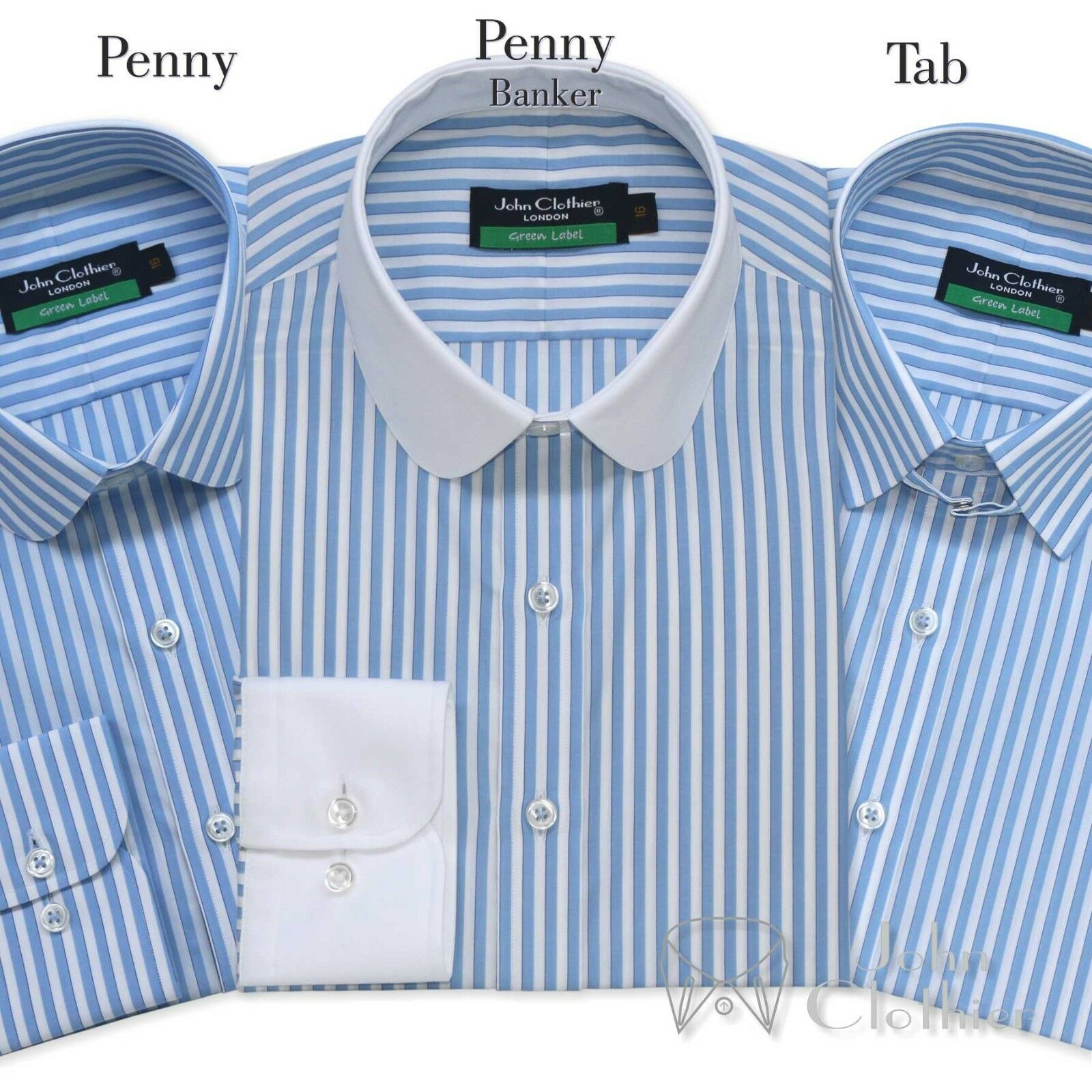 Cotton shirt Club collar Loop collar Sky Blau Weiß stripes for Gents Club Loop