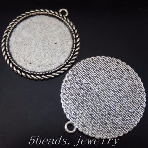 10 Stück Antike Silber Legierung 35mm Runden Kamee Base Charme Anhänger 50217