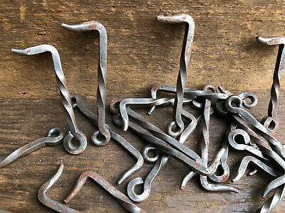 """Antique NOS Hand Forged 3-3.5/"""" Twisted Iron Door Latch Hook Barn ~ Gate Hrdw"""