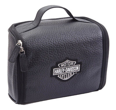Harley-Davidson Deluxe Top Grain Bar /& Shield Leather Toiletry Kit 99509 Brown Athalon