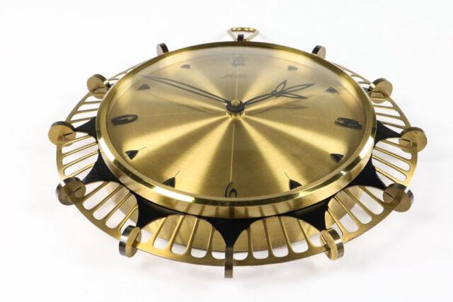 Alte Wand Uhr Atlanta electric Quartz Messing Strahlenkranz Vintage Clock 60er