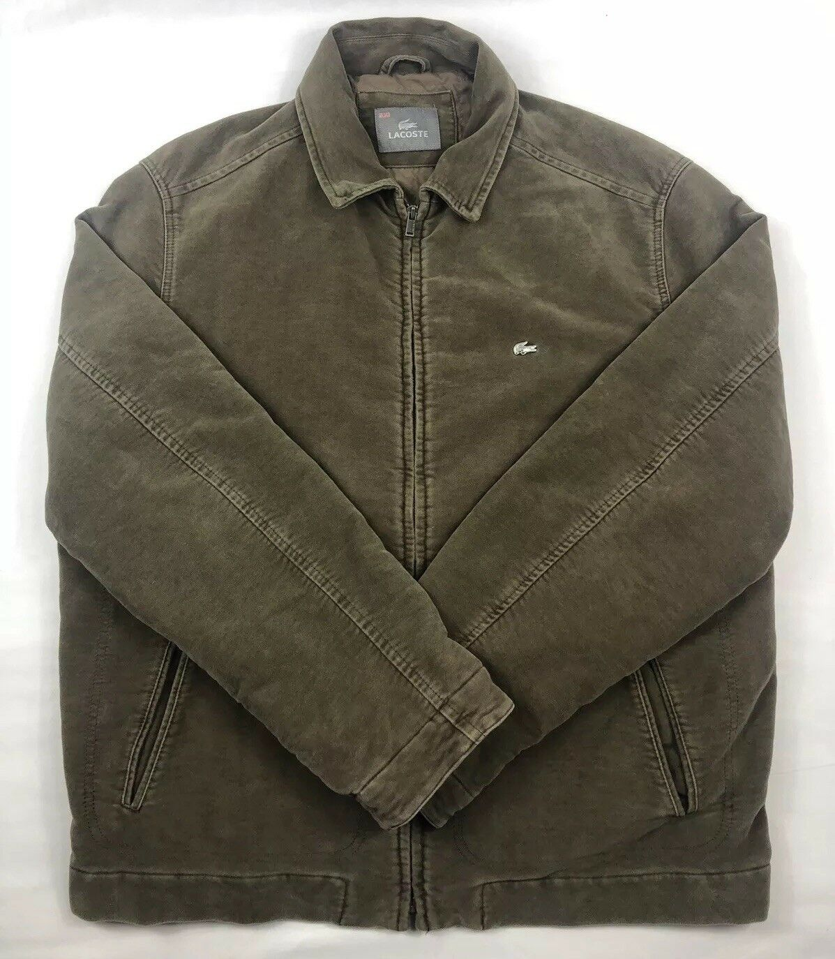 Lacoste Brown Heavyweight 100% Cotton Quilt Lined Full Zip Metal Croc XL EUC