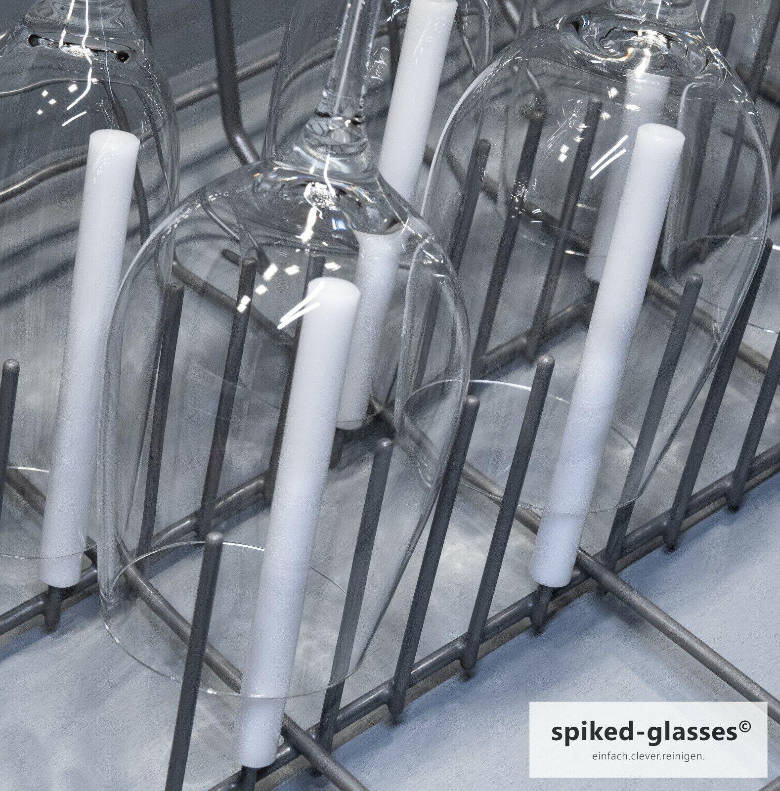 Sektparty 6er Set Kurze Aufsteckhalter Halterung f/ür Geschirrkorb Glas Gl/äser spiked-glasses Glashalter f/ür Sp/ülmaschine