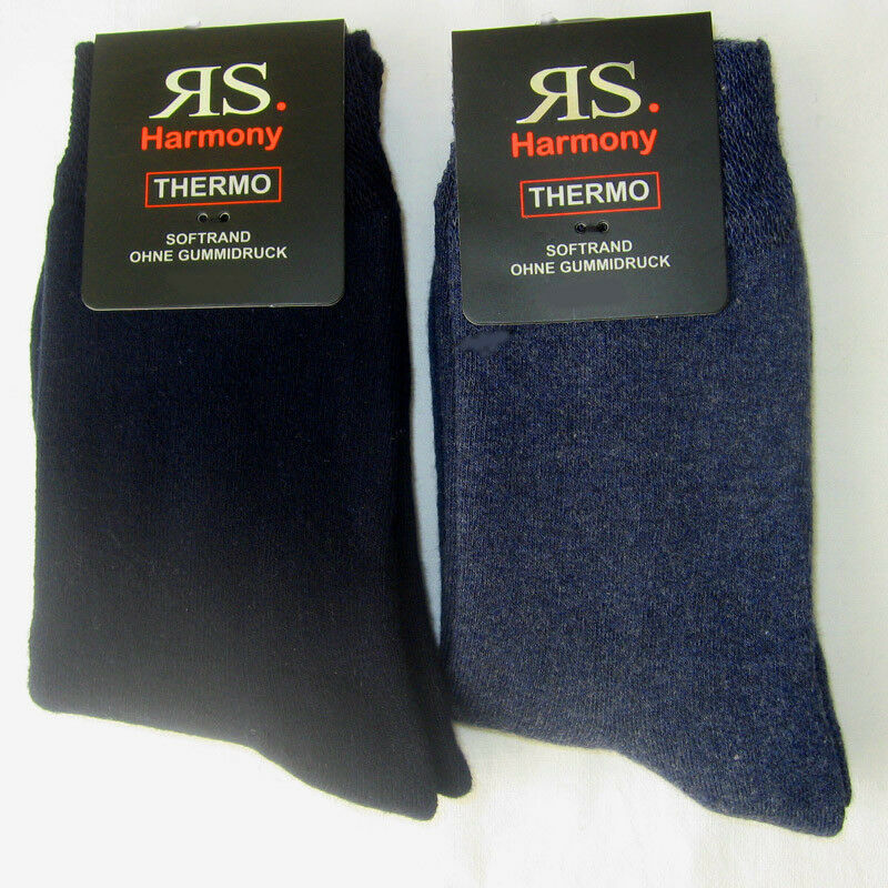 2 Paar Damen Thermo Socken Wintersocken Softrand extra warm blau 35 bis 42