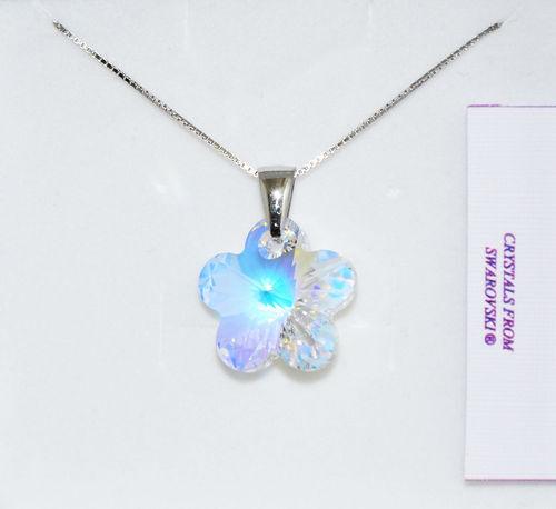 Collana women Atelier silver Con Fiore di Cristallo Swarovsky Autentico