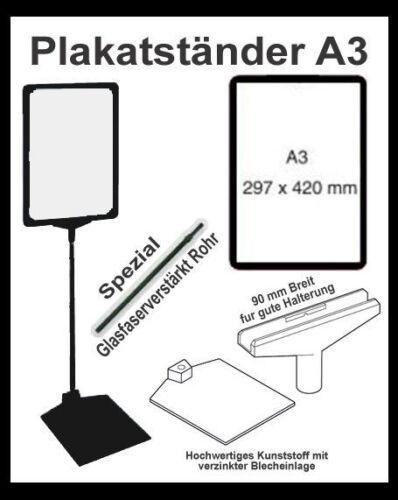 Plakatständer A3 Plakatrahmen Aufsteller Set Rahmen T-Stück Teleskoprohr Boden