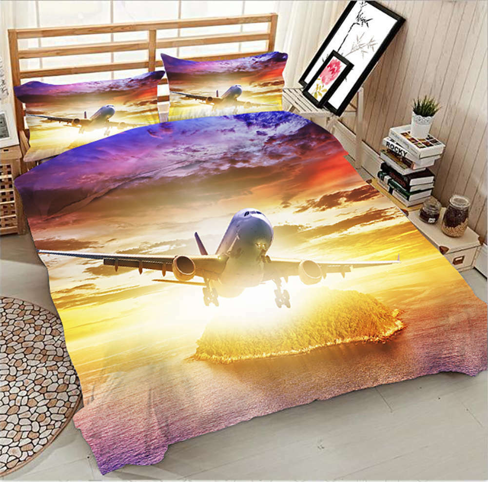 Plane Takes Off 3D Printing Duvet Quilt Doona Covers Pillow Case Bedding Sets
