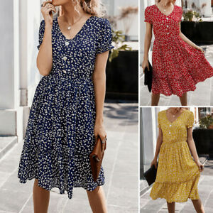 UK-Women-Summer-Bohemia-Sundress-Short-Sleeve-Party-Beach-Dresses-Mini-Dress-New