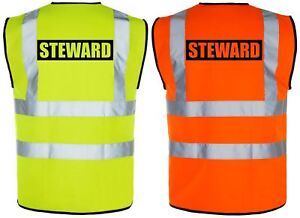Safety Vis Viz Details High About Visibility VestwaistcoatYelloworange Hi Steward 0wnvmN8