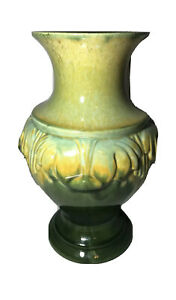 Vintage Royal Haeger Pottery VASE Deco Style Green Yellows Crazing Old Mcm