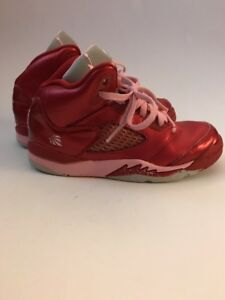 new product a4052 6e94c Details about Nike Girls Air Jordan 5 Retro Gym Red Ion Pink Valentines Day  Shoes 440892 605